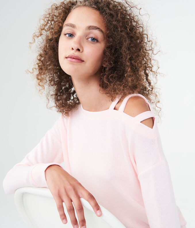 Long Sleeve Strappy-Shoulder Top