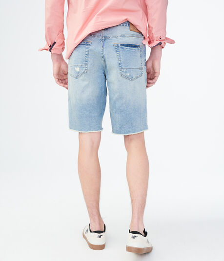Medium Wash Destroyed Stretch Denim Cutoff Shorts
