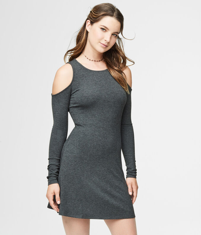 Solid Scoop-Neck Ribbed Cold-Shoulder Fit & Flare Dress