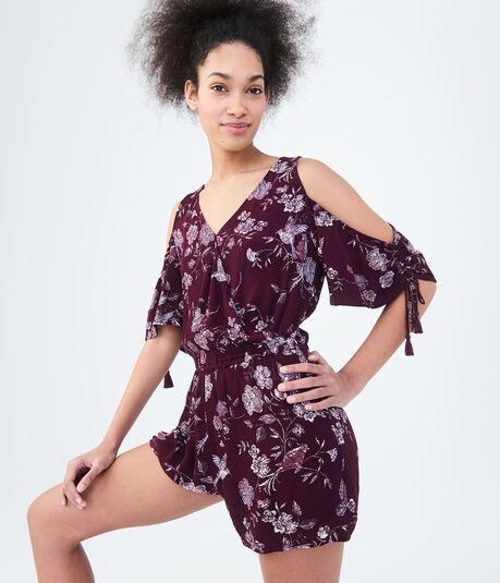 Floral Wrap-Front Cold-Shoulder Romper