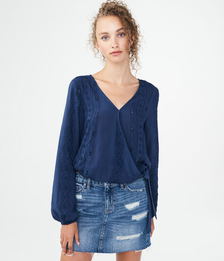Long Sleeve Eyelet Wrap-Front Top