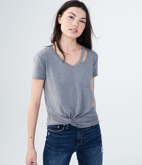Twist-Front Slashed V-Neck Top