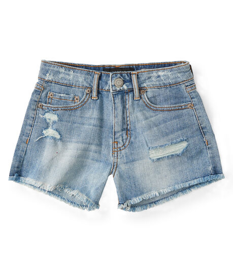 High-Waisted Light Wash Frayed Denim Shorty Shorts