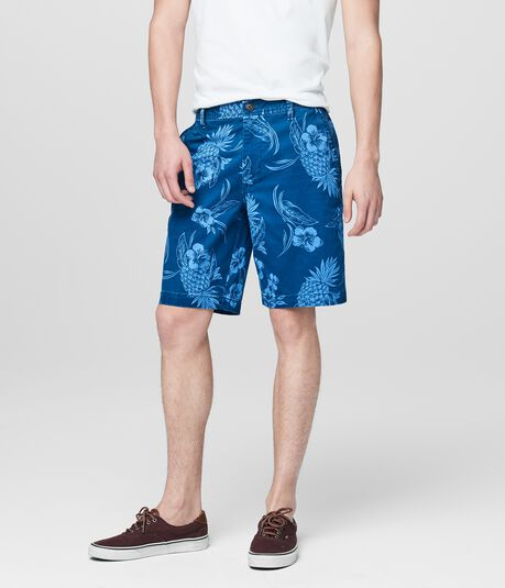 Pineapple Floral Reflex Flat-Front Shorts