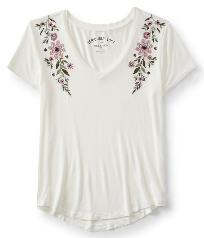 Seriously Soft Embroidered Floral V-Neck Relaxed Tee