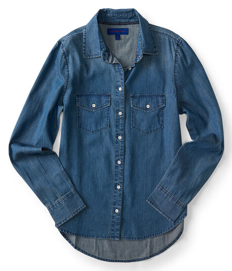 Long Sleeve Medium Wash Chambray Woven Shirt