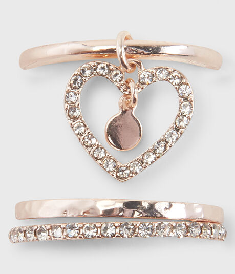 Heart Charm Ring 3-Pack
