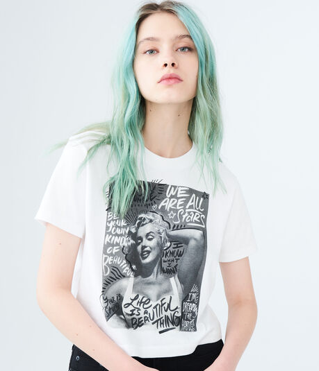 Marilyn Monroe Graffiti Crop Graphic Tee