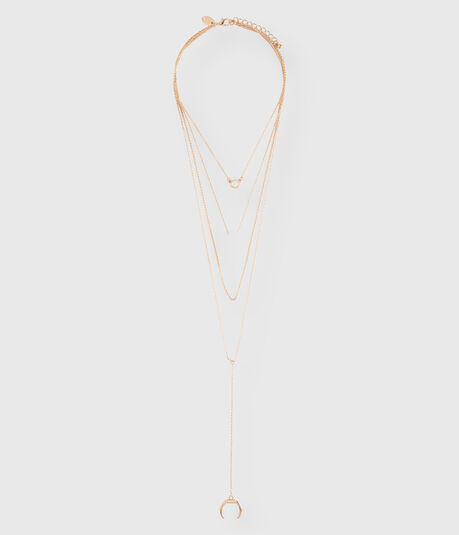 Moon Crystal Layered Short-Strand Necklace