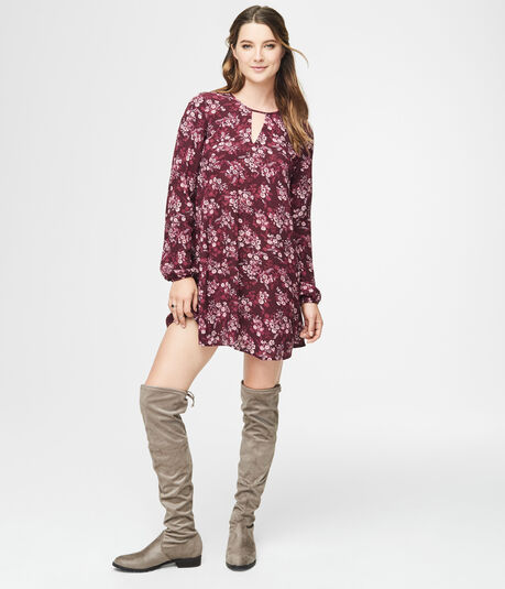 Floral Keyhole Peasant Shift Dress