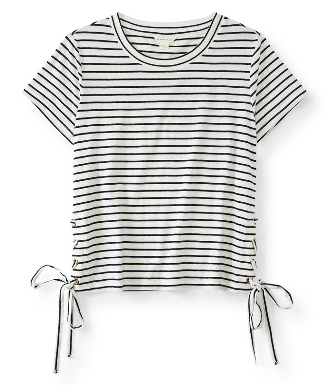 Striped Side Lace-Up Tee
