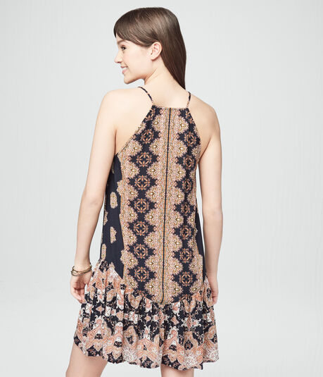 Printed High-Neck Tassel-Tie Shift Dress
