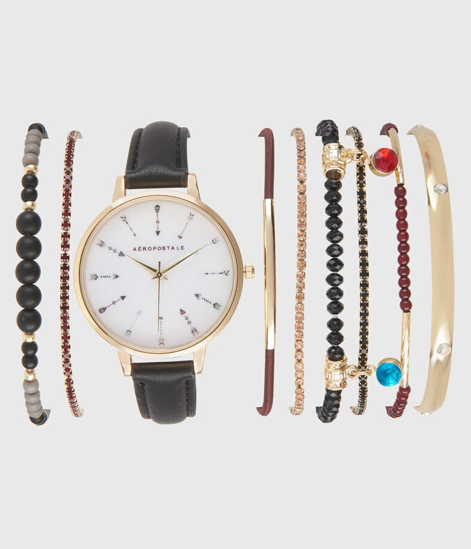 Faux Leather Analog Watch & Bracelet Set