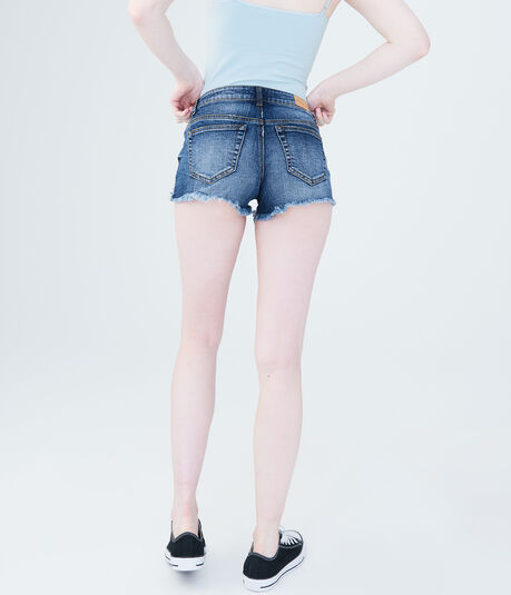 Dark Wash Crocheted Denim Shorty Shorts