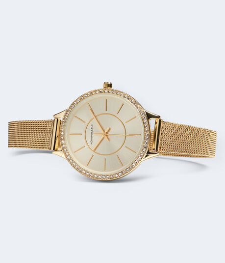Metal Mesh Rhinestone Analog Watch