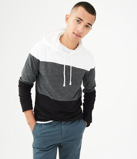 Long Sleeve Colorblock Hooded Tee***