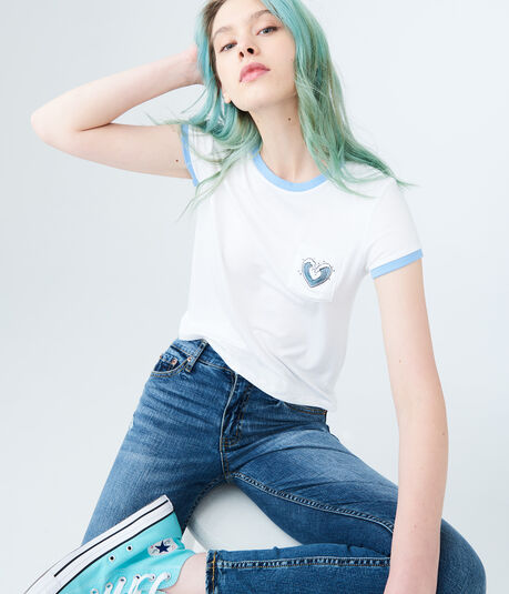 Seriously Soft Heart Pocket Girl Tee