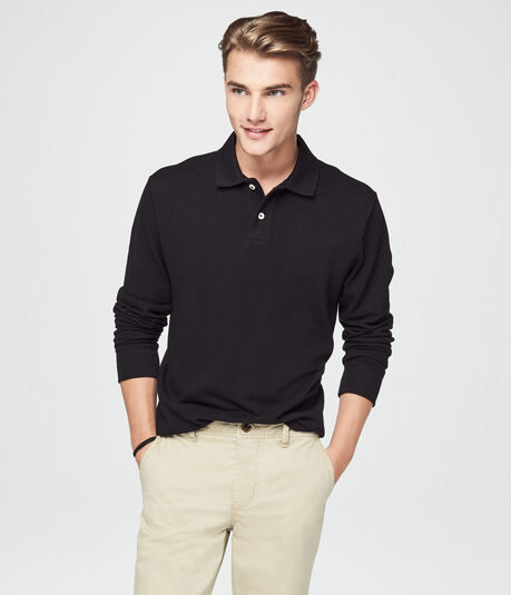Long Sleeve Solid Uniform Pique Polo