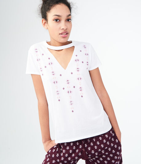 Seriously Soft Cross-Stitch Choker Relaxed Tee