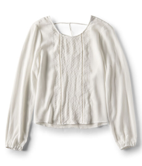 Long Sleeve Sheer Embroidered Peasant Top