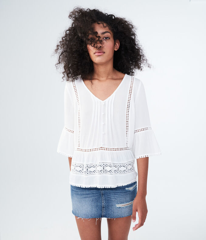 3/4 Sleeve Solid Crocheted Peasant Top