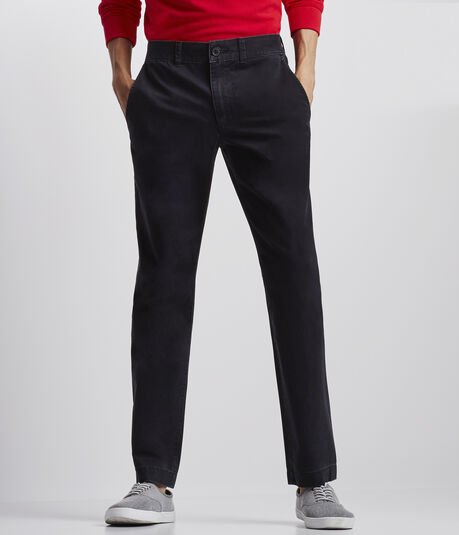 Solid Slim-Straight Flat-Front Chinos