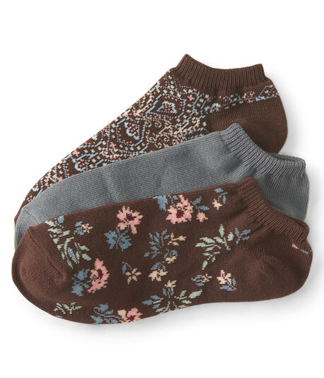 3-Pack Paisley, Floral & Solid Ankle Socks