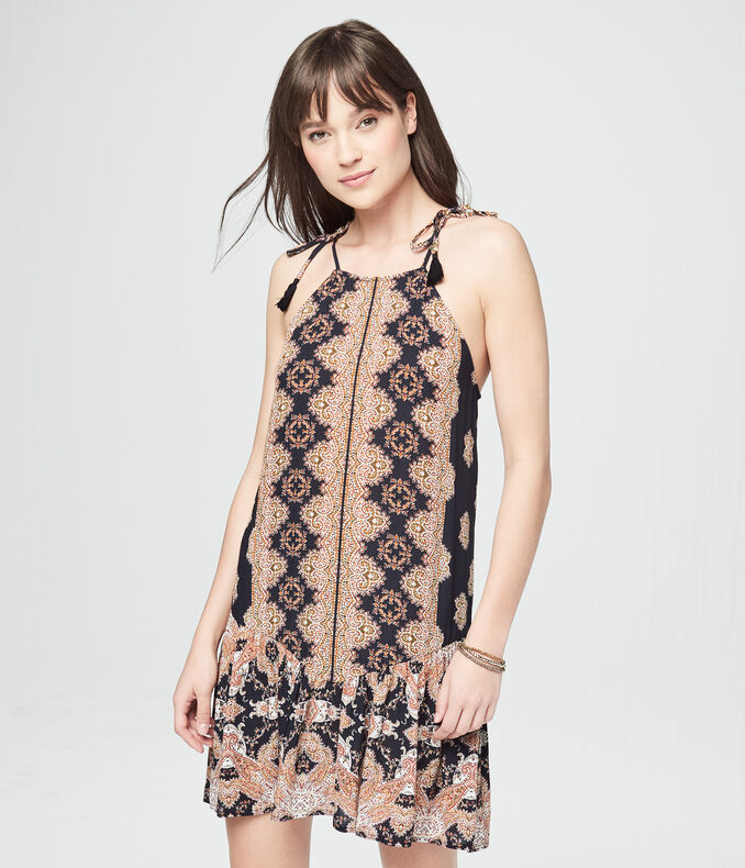 Ornate Print High-Neck Tassel-Tie Shift Dress