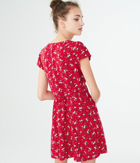 Floral V-Neck Shirt Dress