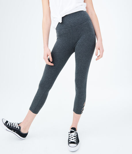LLD High-Waisted Heather Lace-Up Ankle Crop Leggings