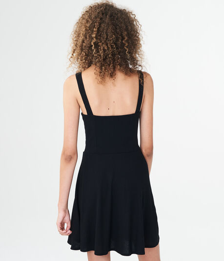Solid Notch-Neck Fit & Flare Dress