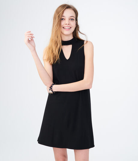 Solid Choker Swing Dress