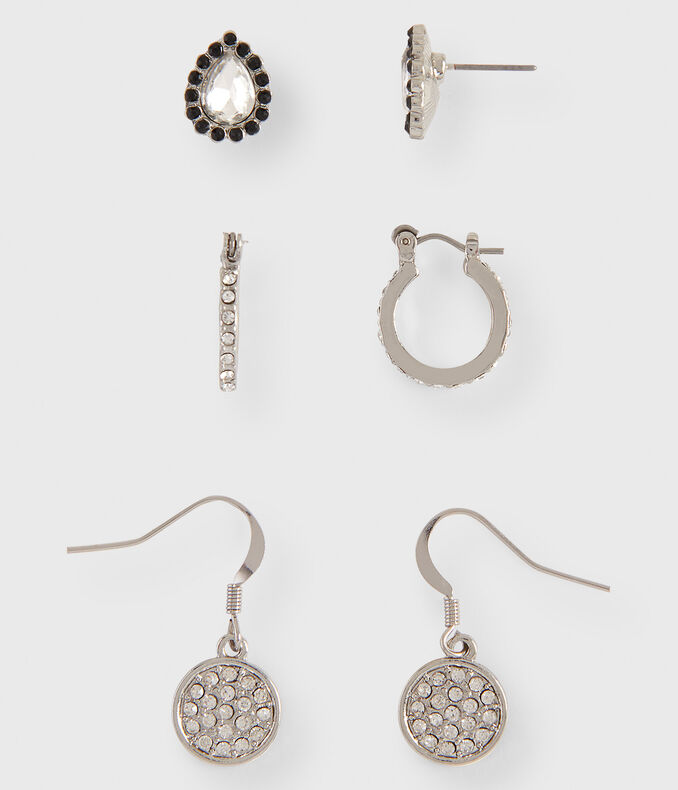 Rhinestone Stud, Leverback & French Wire Earring 3-Pack