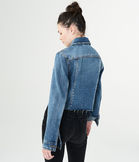 Studded Medium Wash Denim Jacket