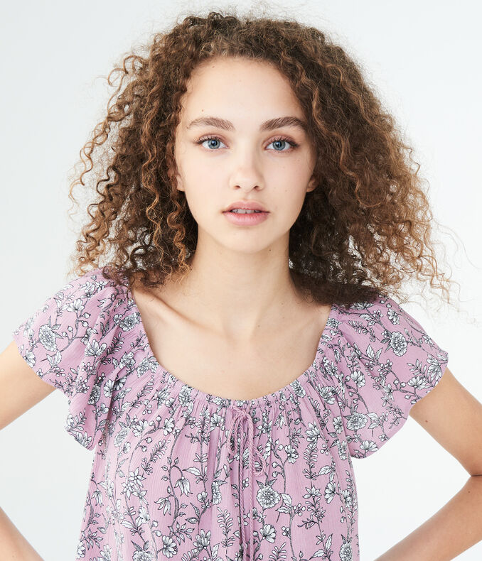 Floral Crochet-Trim Top