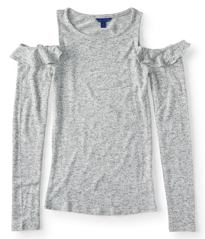 Long Sleeve Seriously Soft Cold-Shoulder Ruffle Top