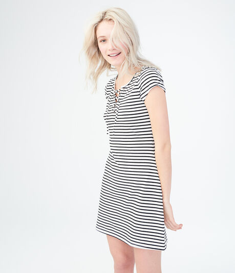 Striped Lace-Up Shirt Dress