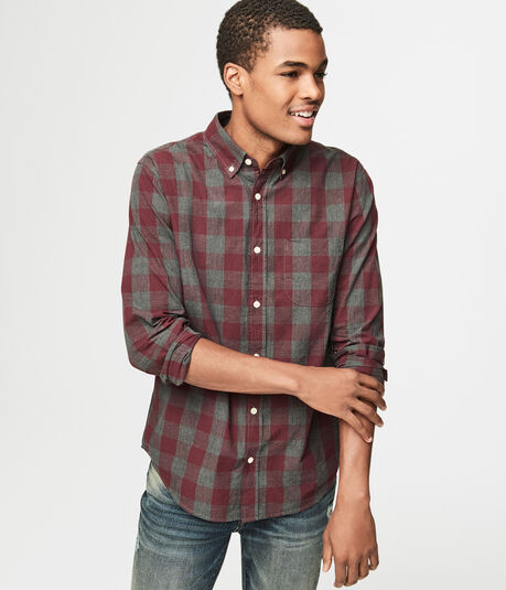 Long Sleeve Heathered Check Woven Shirt