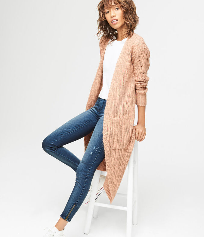 Metallic Cable Duster Cardigan