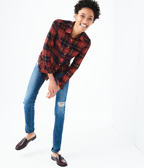 Long Sleeve Metallic Plaid Flannel Woven Shirt