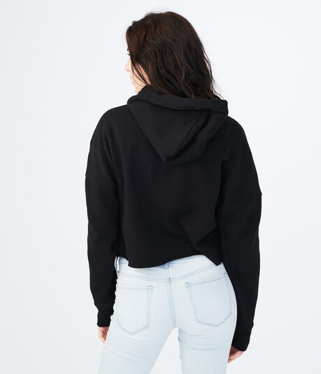 Floral Embroidered Crop Pullover Hoodie