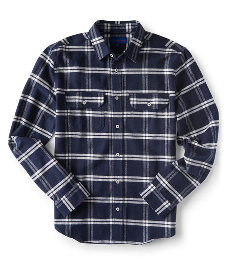 Long Sleeve Windowpane Plaid Woven Shirt