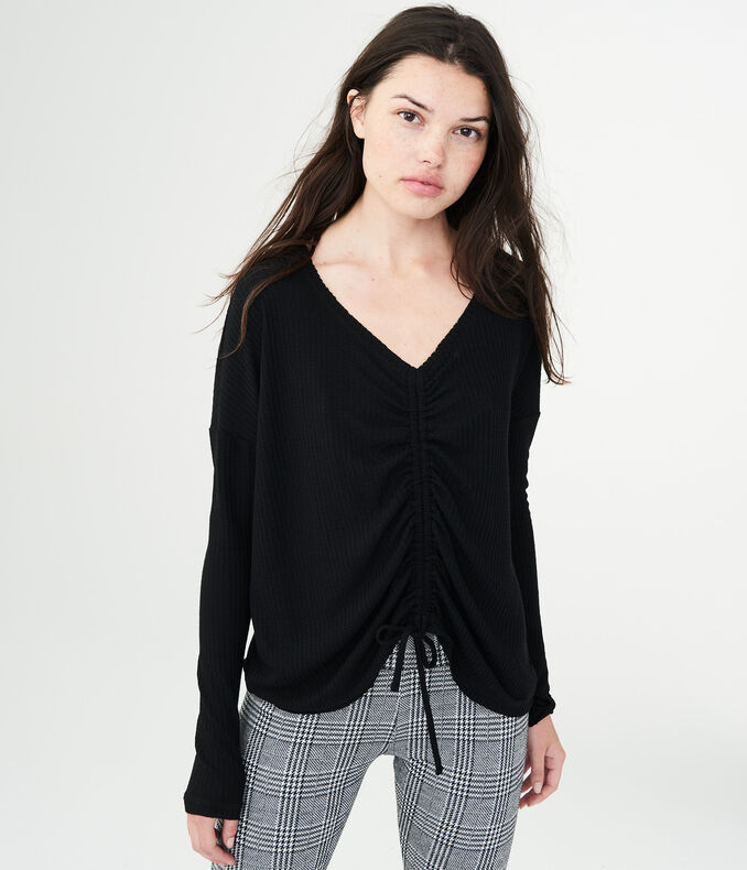 Long Sleeve Ruched Waffle-Knit Top