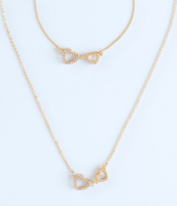 Heart Short-Strand Necklace & Bracelet Set
