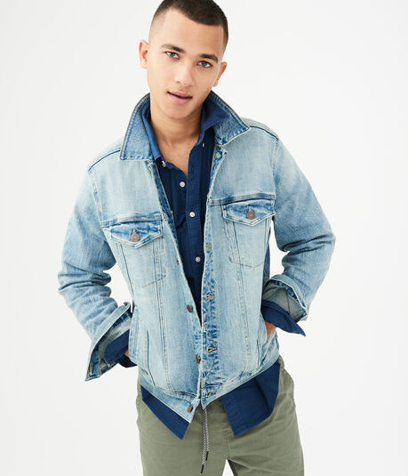 Light Wash Stretch Denim Jacket