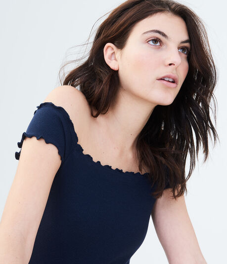 Solid Lettuce-Trim Off-The-Shoulder Top