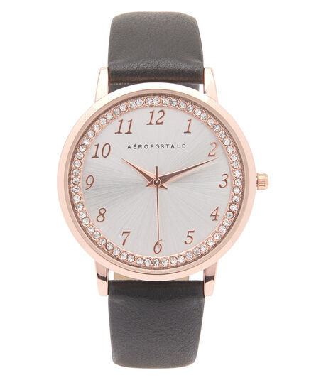 Faux Leather Rhinestone Analog Watch