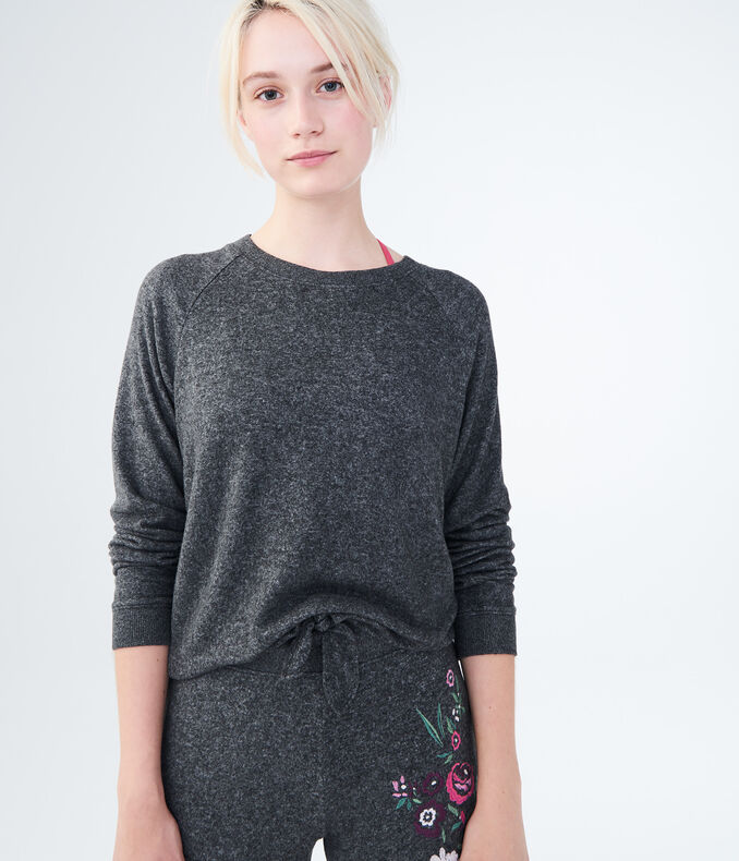 LLD Seriously Soft Knot-Front Crew Sweatshirt