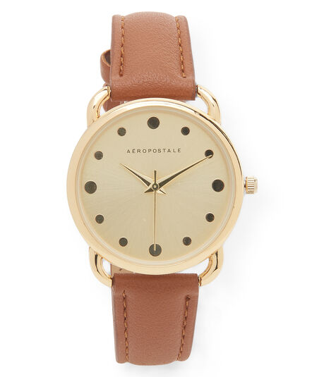 Faux Leather Dot Analog Watch