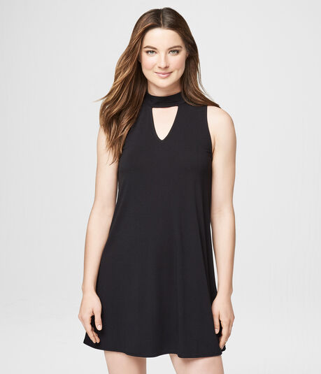 Solid Choker-Cut Shift Dress